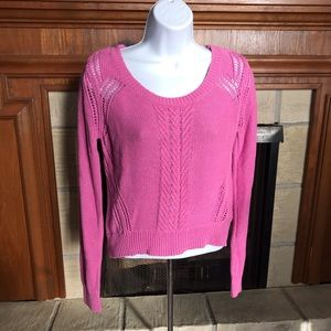 Mossimo Women Pink Cable Design Sweater Small